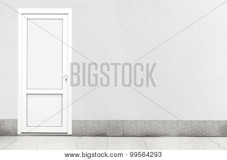 Closed White Door on Wall