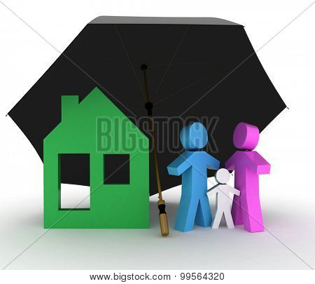 Family and house under an umbrella. 3d illustration