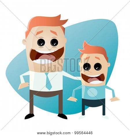 cartoon father and son