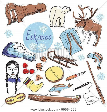 Vector set of tourist attractions Eskimos.