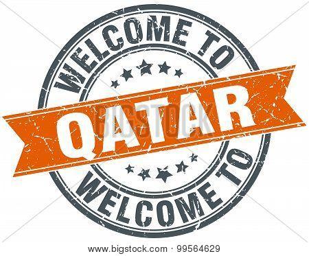 Welcome To Qatar Orange Round Ribbon Stamp