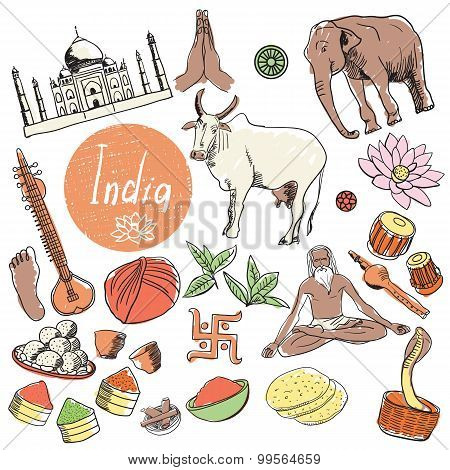 India doodle, India sketch illustration. India cartoon elements. Hand Drawing illustration about India. Tourist Attractions of India, Symbol India. Cartoon India. India travel, asia, mandala, spice. Vector Indian art symbol. Travel to India. Yoga, peacock