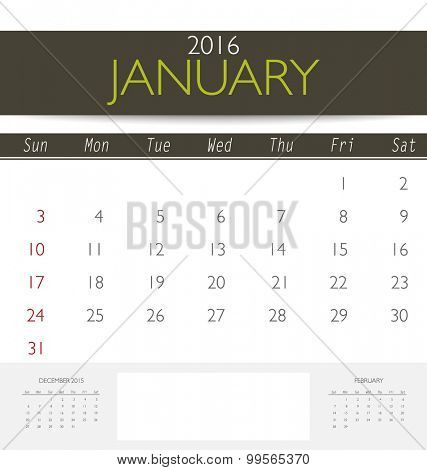 2016 calendar, monthly calendar template for January. Vector illustration.