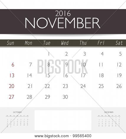 2016 calendar, monthly calendar template for November. Vector illustration.