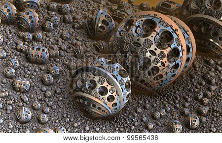 Background with fantastic 3D spheres, abstract fractal design.