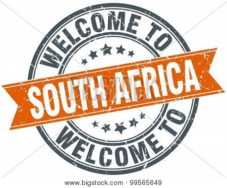 Welcome To South Africa Orange Round Ribbon Stamp