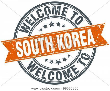 Welcome To South Korea Orange Round Ribbon Stamp