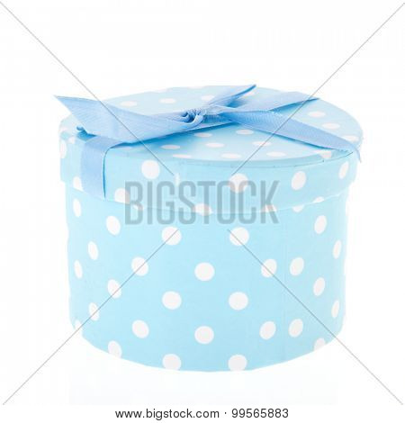 Blue spotted gift box isolated over white background