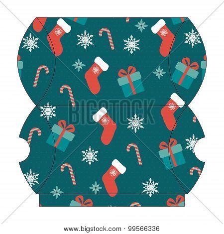 Christmas gift box. Vector template