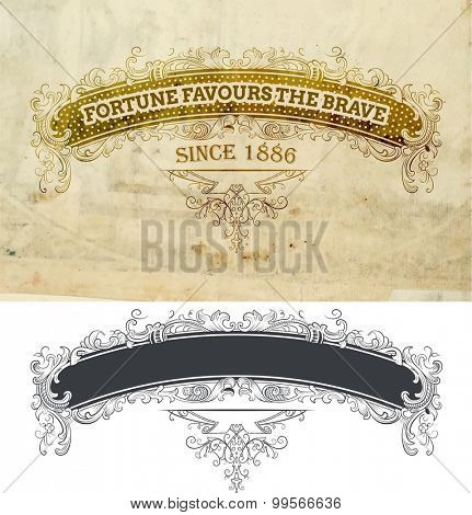 Vector.Banner with floral and old paper details
