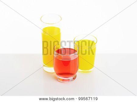 fresh fruit juices on white background