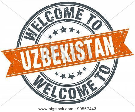 Welcome To Uzbekistan Orange Round Ribbon Stamp