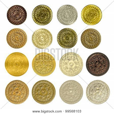 Illustration Of A Fractal Set Of Gold Silver Bronze Coins Medals