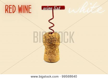 Wine List. Wine Cap Corkscrew In Closeup