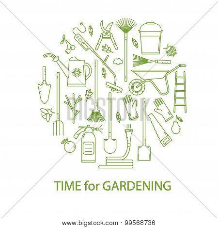 Vector set of garden tools.