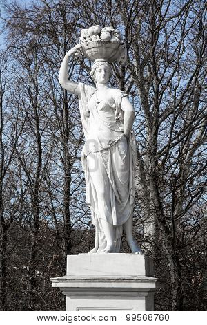 Statue From Gardens Of Schonbrunn Palace In Spring