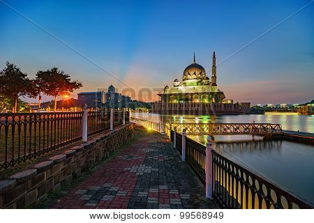 Beautiful view of Putra Mosque during sunrise in Putrajaya, Malaysia