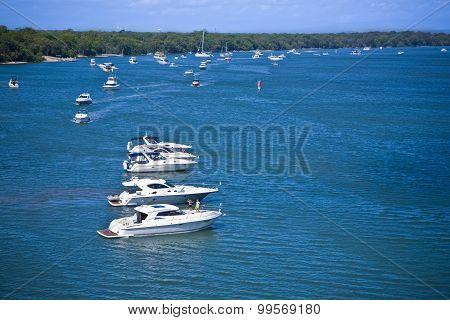 Motor Boats Anchored Close To The Shore