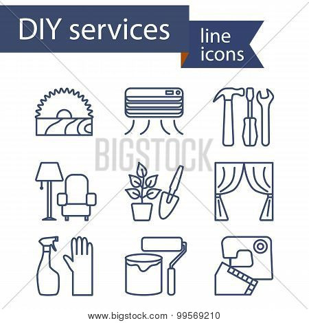 Set of line icons for DIY services.