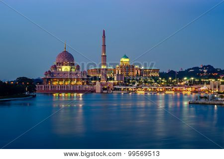 Reflection Of Putra Mosque And Prime Minister Office At Dusk In Putrajaya, Malaysia.