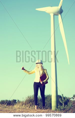Woman engineer at wind farm