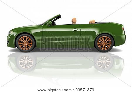 Car Convertible Transportation 3D Illustration Concept