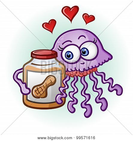 Peanut Butter and Jelly Fish Cartoon Character