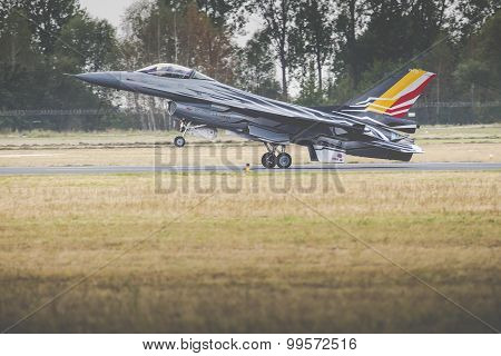 Radom, Poland - August 23: Belgian Air Force F-16 Makes Its Show During Air Show Radom On August 23,