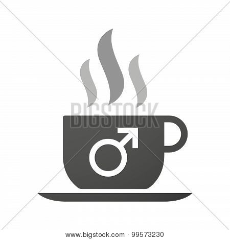 Cup Of Coffee Icon  With A Male Sign