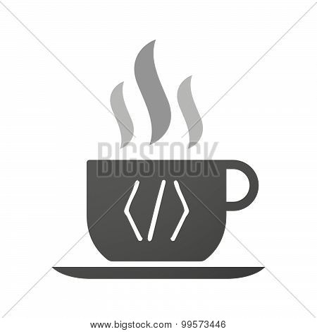 Cup Of Coffee Icon  With A Code Sign