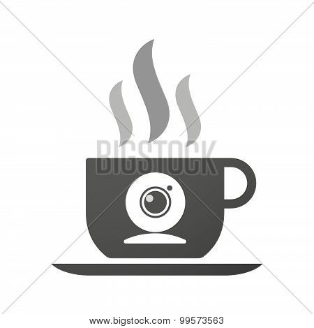Cup Of Coffee Icon  With A Web Cam