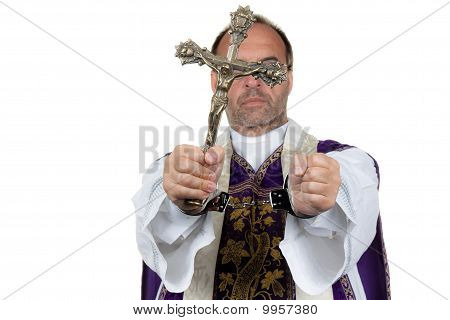 Catholic Priest With Handcuffs. Abuse.