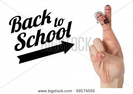 Fingers posed as students against back to school message with arrow