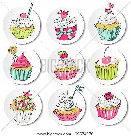 Pure series  Hand drawn cake icons