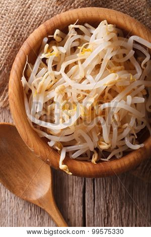 Sprouts Of Mung Beans In A Wooden Bowl Closeup. Vertical Top View