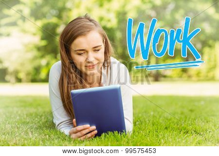 The word work against university student lying and using tablet pc