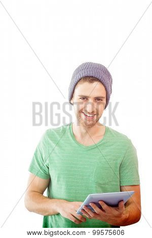 Student using tablet against white background with vignette