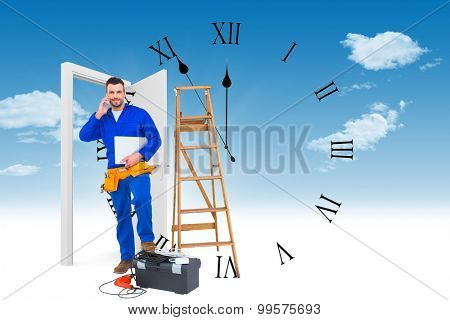 Carpenter on the phone against clock counting down to midnight