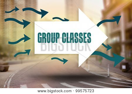 The word group classes and arrows against new york street
