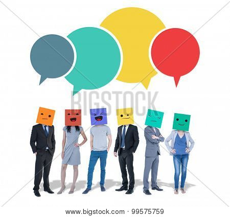 People with boxes on their heads against speech bubbles