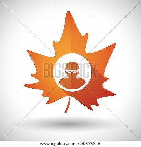 Autumn Leaf Icon With A Thief