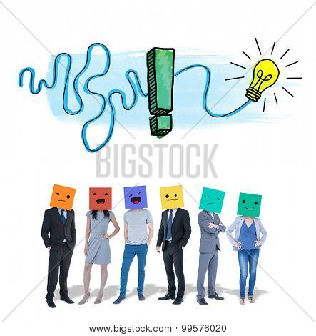 People with boxes on their heads against exclamation and light bulb