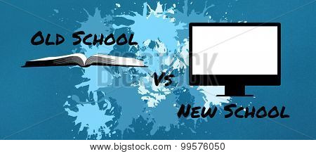 old school vs new school against blue background