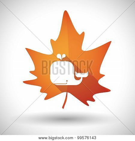 Autumn Leaf Icon With A Whale