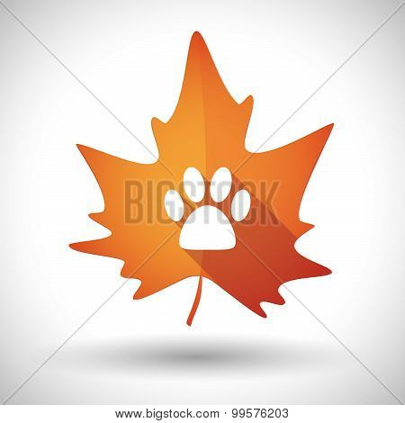 Autumn Leaf Icon With An Animal Footprint