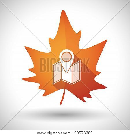Autumn Leaf Icon With A Map