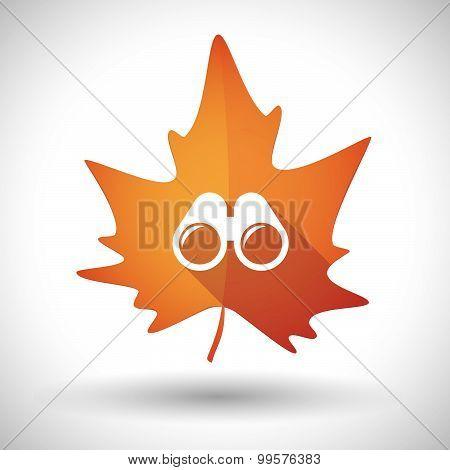 Autumn Leaf Icon With A Binoculars