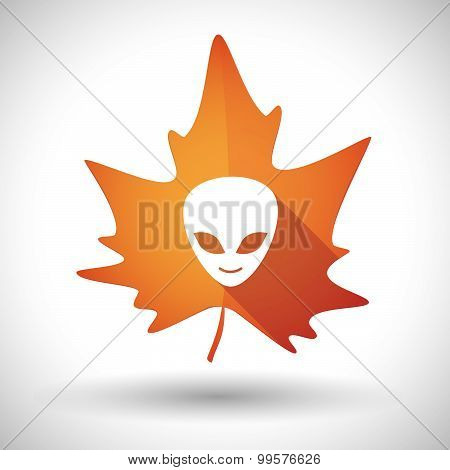 Autumn Leaf Icon With An Alien Face