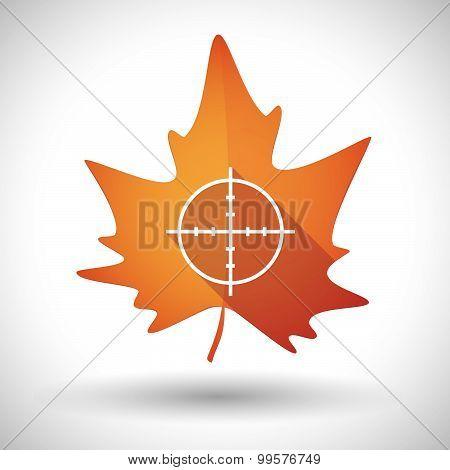 Autumn Leaf Icon With A Crosshair