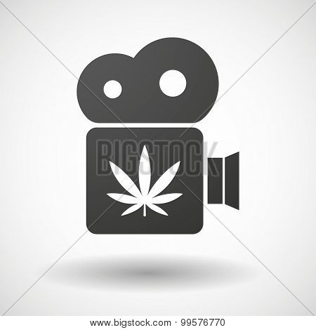 Cinema Camera Icon With A Marijuana Leaf